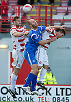 Hamilton Accies v St Johnstone..23.10.10  .Sam Parkin is sandwiched between Mark McLaughlin and David Buchanan.Picture by Graeme Hart..Copyright Perthshire Picture Agency.Tel: 01738 623350  Mobile: 07990 594431