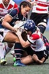 Mayu Shimizu (r) competes against Hong Kong during the Womens Rugby World Cup 2017 Qualifier match between Hong Kong and Japan on December 17, 2016 in Hong Kong, Hong Kong. Photo by Marcio Rodrigo Machado / Power Sport Images