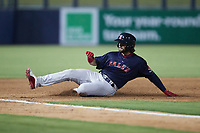 Nick Northcut (24) of the Salem Red Sox slides into third base after hitting a triple during the game against the Kannapolis Cannon Ballers at Atrium Health Ballpark on July 30, 2021 in Kannapolis, North Carolina. (Brian Westerholt/Four Seam Images)