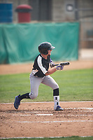 Grand Junction Rockies second baseman Hunter Stovall (1) shows bunt during a Pioneer League game against the Helena Brewers at Kindrick Legion Field on August 19, 2018 in Helena, Montana. The Grand Junction Rockies defeated the Helena Brewers by a score of 6-1. (Zachary Lucy/Four Seam Images)