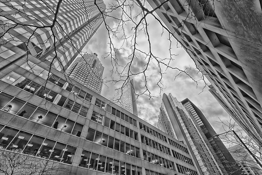 A black and white view looking up in downtown Toronto.