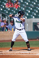 Surprise Saguaros Rylan Bannon (1), of the Baltimore Orioles organization, at bat during the Arizona Fall League Championship Game against the Salt River Rafters on October 26, 2019 at Salt River Fields at Talking Stick in Scottsdale, Arizona. The Rafters defeated the Saguaros 5-1. (Zachary Lucy/Four Seam Images)