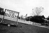 Kutztown, Pennsylvania.USA.October 21, 2004..Pro-Bush and Pro-Kerry signs on a back road within one mile of each other in Kutztown..
