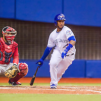 1 April 2016: Toronto Blue Jays infielder Richard Urena in action during a pre-season exhibition series against the Boston Red Sox at Olympic Stadium in Montreal, Quebec, Canada. The Red Sox defeated the Blue Jays 4-2 in the first of two MLB weekend games, which saw an attendance of 52,682 at the former home on the Montreal Expos. Mandatory Credit: Ed Wolfstein Photo *** RAW (NEF) Image File Available ***