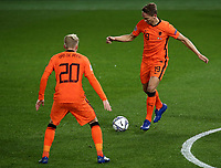 Football: Uefa Nations League Group A match Italy vs Netherlands at Gewiss stadium in Bergamo, on October 14, 2020.<br /> Netherlands' Luuk de Jong (r) in action with his teammate Donny van de Beek (l) during the Uefa Nations League match between Italy and Netherlands at Gewiss stadium in Bergamo, on October 14, 2020. <br /> UPDATE IMAGES PRESS/Isabella Bonotto
