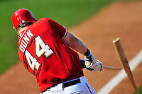 23 August 2009: Washington Nationals' first baseman Adam Dunn breaks his bat against the Milwaukee Brewers at Nationals Park in Washington, DC. The Nationals defeated the Brewers 8-3 to take the third game of their four-game series, snapping a five games losing streak. Mandatory Credit: Ed Wolfstein Photo
