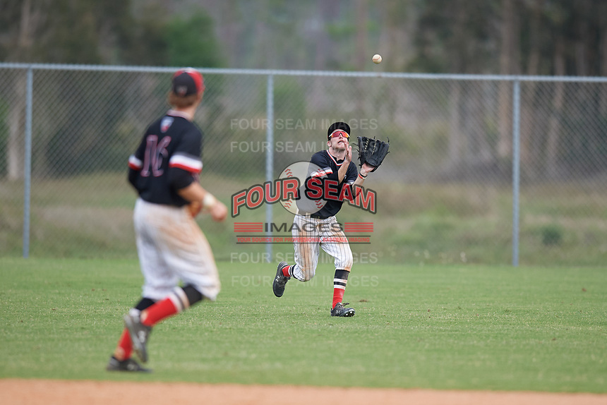 Edgewood Eagles left fielder Ryan Cassady (5) during a game against the South Vermont Mountaineers on March 18, 2019 at Lee County Player Development Complex in Fort Myers, Florida.  South Vermont defeated Edgewood 19-6.  (Mike Janes/Four Seam Images)