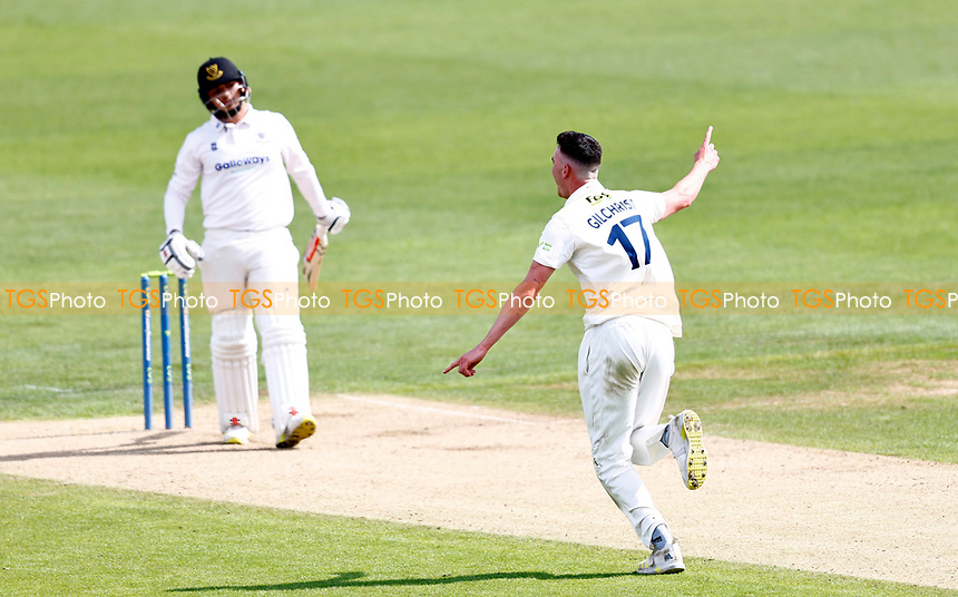 Nathan Gilchrist of Kent celebrates taking the wicket of Daniel Ibrahim during Kent CCC vs Sussex CCC, LV Insurance County Championship Group 3 Cricket at The Spitfire Ground on 11th July 2021