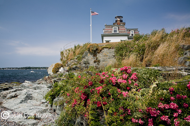 Rose Island Lighthouse in Narragansett Bay, Newport, RI, USA