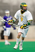 10 April 2007: University of Vermont Catamounts' Adam Kornuth, a Senior from Denver, CO, in action against the Holy Cross Crusaders at Moulton Winder Field, in Burlington, Vermont. The Crusaders rallied to defeat the Catamounts 5-4...Mandatory Photo Credit: Ed Wolfstein Photo