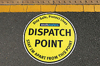 A new sign on the platform at Bromley South railway station reads Dispatch Point, Stay Safe, Protect Lives, Stay 2M Apart from this point. The Kent COVID-19 pandemic continues to have a severe impact throughout Kent on 21st May 2020