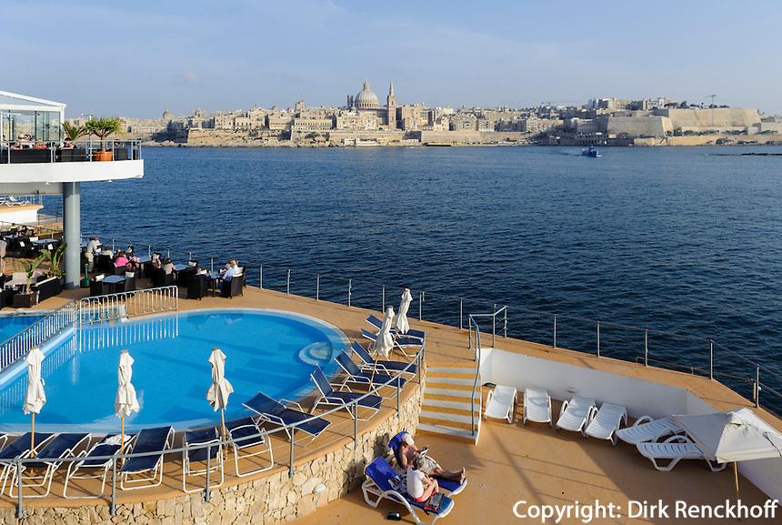 Blick von Sliema auf Valletta, Fortina Spa Resort,  Malta, Europa