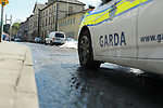 Garda block off part of the Dublin road at the junction between Mary Street and the Traffic lights at the entrance to Scotch Hall, A ruptured water main lifted part of the road sending stone from under the tarmac surface across the 4 lanes of road.<br /> <br /> Picture Fran Caffrey / Newsfile