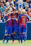 Luis Suarez of FC Barcelona celebrates with teammates Lionel Messi, Rafinha and Neymar JR during their La Liga match between Deportivo Leganes and FC Barcelona at the Butarque Municipal Stadium on 17 September 2016 in Madrid, Spain. Photo by Diego Gonzalez Souto / Power Sport Images