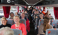 08-02-14,Netherlands,Rotterdam,Ahoy, ABNAMROWTT , Bus with Alban Meufels (NED) supporters arriving at Ahoy <br /> Tennisimages/Henk Koster