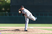 Scottsdale Scorpions relief pitcher Ty Boyles (43), of the Cincinnati Reds organization, delivers a pitch during an Arizona Fall League game against the Glendale Desert Dogs at Camelback Ranch on October 16, 2018 in Glendale, Arizona. Scottsdale defeated Glendale 6-1. (Zachary Lucy/Four Seam Images)