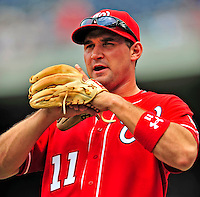 24 May 2009: Washington Nationals' third baseman Ryan Zimmerman warms up prior to a game against the Baltimore Orioles at Nationals Park in Washington, DC. The Nationals rallied to defeat the Orioles 8-5 and salvage one win of their interleague series. Mandatory Credit: Ed Wolfstein Photo