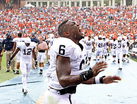 Penn State linebacker Gerald Hodges (6) reacts to a missed field goal  in the final seconds of the 17-16 loss to Virginia Saturday Sept. 8, 2012 during an NCAA football game in Charlottesville, VA. Photo/Andrew Shurtleff