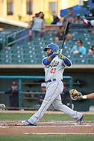 Julian Leon (43) of the Rancho Cucamonga Quakes bats against the Lancaster JetHawks at The Hanger on April 19, 2016 in Lancaster, California. Rancho Cucamonga defeated Lancaster, 10-6. (Larry Goren/Four Seam Images)