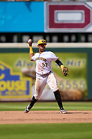 Bradenton Marauders shortstop Dariel Lopez (52) throws to first base during a game against the Fort Myers Mighty Mussels on May 9, 2021 at LECOM Park in Bradenton, Florida.  (Mike Janes/Four Seam Images)