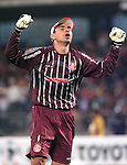 Brazilian International's goalkeeper Clemer da Silva celebrates the second goal of his team against Mexico's UNAM Pumas during their qualifiying game for the Copa Libertadores at the University Stadium, March 8, 2006. International won 2-1 to UNAM Pumas. Photo by Javier Rodriguez