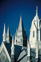 Latter Day Saints (Mormon) Assembly Hall at Temple Square in Salt Lake City, Utah.  ornamental architecture, urban design, religions, Christianity,. Salt Lake City Utah.