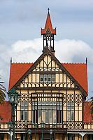 Rotorua Museum of Art and History, formerly a Spa, built 1908 in Tudor Style.  Rotorua, north island, New Zealand.