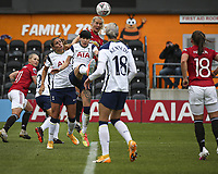 10th October 2020, The Hive, Canons Park, Harrow, England; Millie Turner  21 Manchester United wins the header and scores the first goal for her team during for womens Super League game between Tottenham Hotspur and Manchester United