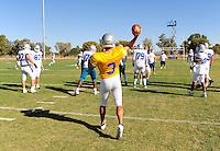 Sept. 16, 2009; Casa Grande, AZ, USA; Las Vegas Locomotives quarterback (3) Tim Rattay throws a pass during training camp at the Casa Grande Training Facility & Performance Institute. Mandatory Credit: Mark J. Rebilas-