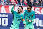 Leo Messi and Neymar Santos Jr of Futbol Club Barcelona celebrates after scoring a goal  during the match of Spanish La Liga between Atletico de Madrid and Futbol Club Barcelona at Vicente Calderon Stadium in Madrid, Spain. February 26, 2017. (ALTERPHOTOS)