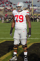 Ohio State offensive lineman Marcus Hall. The Ohio State Buckeyes defeated the Purdue Boilermakers 56-0 at Ross-Ade Stadium, West Lafayette, Indiana on November2, 2013.