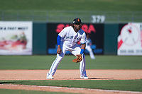 Surprise Saguaros third baseman Vladimir Guerrero Jr. (27), of the Toronto Blue Jays organization, during an Arizona Fall League game against the Salt River Rafters on October 9, 2018 at Surprise Stadium in Surprise, Arizona. The Rafters defeated the Saguaros 10-8. (Zachary Lucy/Four Seam Images)