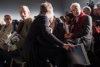 Nach zwei Jahren ohne eigene Ausstellungsraeume eroeffnet die Galerie fuer Photographie C/O Berlin am 30. Oktober 2014 am neuen Standort im Amerika Haus am Bahnhof Zoo in der Hardenbergstraße 22-24 in Berlin-Charlottenburg.<br /> Am Mittwoch den 29. Oktober 2014 gab es ein Opening fuer die Presse.<br /> Links im Bild: Will McBride, in Deutschland lebender US-amerikanischer Fotograf; rechts: Elliott Erwitt, US-amerikanischer Fotograf und zeitweise Praesident sowie Vizepraesident der Fotoagentur Magnum Photos.<br /> 29.10.2014, Berlin<br /> Copyright: Christian-Ditsch.de<br /> [Inhaltsveraendernde Manipulation des Fotos nur nach ausdruecklicher Genehmigung des Fotografen. Vereinbarungen ueber Abtretung von Persoenlichkeitsrechten/Model Release der abgebildeten Person/Personen liegen nicht vor. NO MODEL RELEASE! Don't publish without copyright Christian-Ditsch.de, Veroeffentlichung nur mit Fotografennennung, sowie gegen Honorar, MwSt. und Beleg. Konto: I N G - D i B a, IBAN DE58500105175400192269, BIC INGDDEFFXXX, Kontakt: post@christian-ditsch.de<br /> Urhebervermerk wird gemaess Paragraph 13 UHG verlangt.]