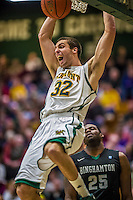 26 January 2014: University of Vermont Catamount Forward Ethan O'Day, a Sophomore from Mansfield, CT, goes up for two against the Binghamton University Bearcats at Patrick Gymnasium in Burlington, Vermont. The Catamounts defeated the Bearcats 72-39 to notch their 12th win of the season. Mandatory Credit: Ed Wolfstein Photo *** RAW (NEF) Image File Available ***