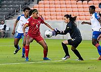 HOUSTON, TX - FEBRUARY 3: Sasha Fabregas #12 of Panama goes for the ball as Yerenis De Leon #5 of Panama looks on during a game between Panama and Haiti at BBVA Stadium on February 3, 2020 in Houston, Texas.