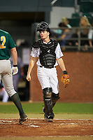 Stetson Hatters catcher Austin Hale (18) during a game against the Siena Saints on February 23, 2016 at Melching Field at Conrad Park in DeLand, Florida.  Stetson defeated Siena 5-3.  (Mike Janes/Four Seam Images)
