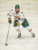 29 December 2014: University of Vermont Catamount Forward Jake Fallon, a Senior from Southlake, Texas, in third period action against the Providence College Friars, during the deciding game of the annual TD Bank-Sheraton Catamount Cup Tournament at Gutterson Fieldhouse in Burlington, Vermont. The Friars shut out the Catamounts 3-0 to win the 2014 Cup. Mandatory Credit: Ed Wolfstein Photo *** RAW (NEF) Image File Available ***