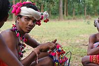 Boys of Muria tribe in Chhattisgarth prepare for the Deer Horn Dance