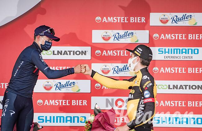 Wout van Aert (BEL/Jumbo-Visma) wins the 55th Amstel Gold Race 2021 (1.UWT) ahead of Tom Pidcock (GBR/Ineos Grenadiers) <br /> <br /> 1 day race from Valkenburg to Berg en Terblijt; raced on closed circuit (NED/217km)<br /> <br /> ©kramon