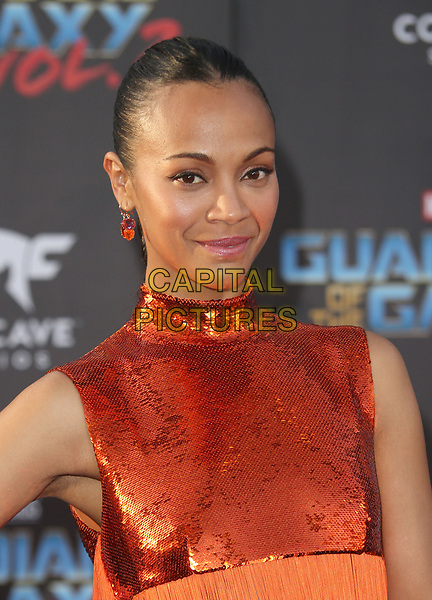 """HOLLYWOOD, CA - April 19: Zoe Saldana, At Premiere Of Disney And Marvel's """"Guardians Of The Galaxy Vol. 2"""" At The Dolby Theatre  In California on April 19, 2017. <br /> CAP/MPI/FS<br /> ©FS/MPI/Capital Pictures"""
