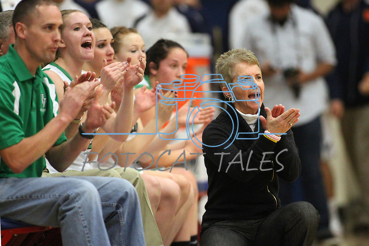 Virgin Valley's bench cheers on their team in a semi-final game in the NIAA 3A State Basketball Championships between Virgin Valley and Elko high schools at Reno High School in Reno, Nev, on Friday, Feb. 24, 2012. Elko won 49-32..Photo by Cathleen Allison