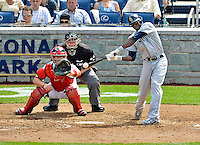 15 May 2012: San Diego Padres outfielder Cameron Maybin at bat during a game against the Washington Nationals at Nationals Park in Washington, DC. The Padres defeated the Nationals 6-1 to split their 2-game series. Mandatory Credit: Ed Wolfstein Photo