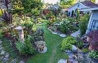Lawn paths in backyard garden leading through garden beds; California plant collector garden - Carol Brant