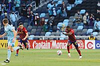 SAINT PAUL, MN - APRIL 24: Anderson Julio #29 of Real Salt Lake with a break away during a game between Real Salt Lake and Minnesota United FC at Allianz Field on April 24, 2021 in Saint Paul, Minnesota.