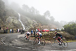 The breakaway led by UAE Team Emirates climb during Stage 17 of the Vuelta Espana 2020, running 178.2km from Sequeros to Alto de la Covatilla, Spain. 7th November 2020.  <br /> Picture: Unipublic/Charly Lopez | Cyclefile<br /> <br /> All photos usage must carry mandatory copyright credit (© Cyclefile | Unipublic/Charly Lopez)