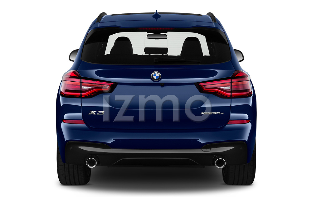 Straight rear view of 2020 BMW X3 M-Sport 5 Door SUV Rear View  stock images
