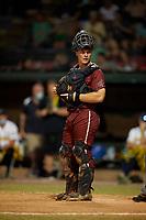 Macon Bacon catcher Will Olson (15) during a Coastal Plain League game against the Savannah Bananas on July 15, 2020 at Grayson Stadium in Savannah, Georgia.  (Mike Janes/Four Seam Images)