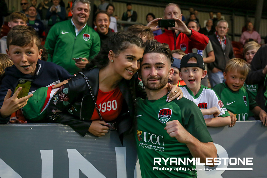 UEFA Europa League First Qualifying Round Second Leg, Cork City vs Levadia Tallinn,<br /> Thursday 6th July 2017,Turners Cross, Sean Maguire celebrates with a fan, Credit: Michael P Ryan
