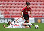 Jess Sigsworth of Manchester United Women and Grace Coombs of Charlton Athletic Women