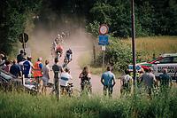 Florian Sénéchal (FRA/Quick-Step Floors) leading the bunch out of the woods<br /> <br /> 3rd Dwars Door Het hageland 2018 (BEL)<br /> 1 day race:  Aarschot > Diest: 198km